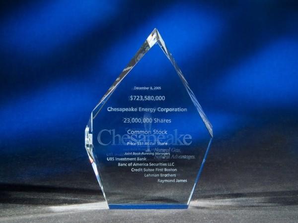 "6 11/16"" x 5 1/8"" x 2 3/8"" 3D Flame Crystal Award"