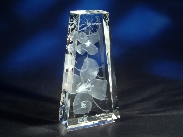 "8 11/16"" x 4 1/2"" x 2"" Faceted Taper Tower Shape Crystal Award"