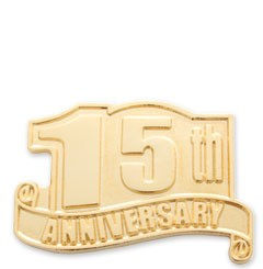 15th Anniversary Safety Service Lapel Pin wtih military clutch - A2