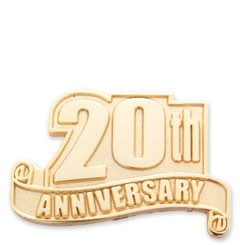 20th Anniversary Service Lapel Pin with military clutch - A3