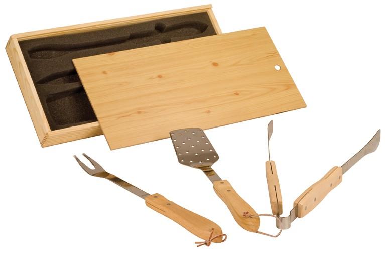 3 Piece BBQ Set in Wooden Box