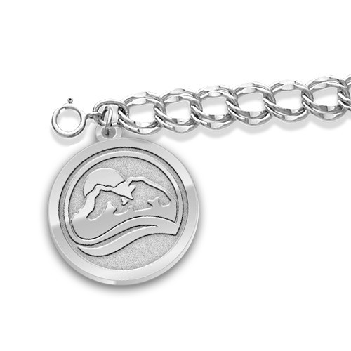 """3/4"""" sterling silver charm with Bracelet"""