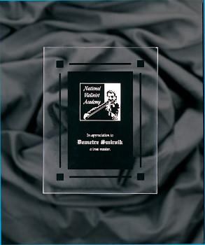 "9"" x 11"" Solid Black Acrylic Clear Plaque - CPQ9SBK"