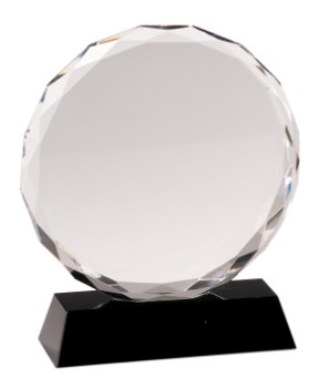 "7"" Black Pedestal Round Crystal with Facet - CRY001L"