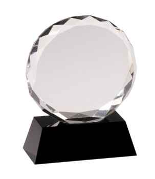 "5"" Black Pedestal Round Crystal Facet - CRY001S"