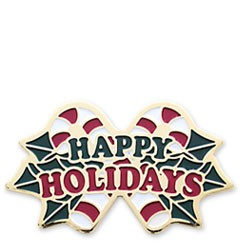 Happy Holiday Candy Cane Stock Holiday Lapel pin with military clutch - HL21