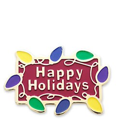 Happy Holiday Xmas Lights Stock Holiday Lapel Pin with military clutch - HL25