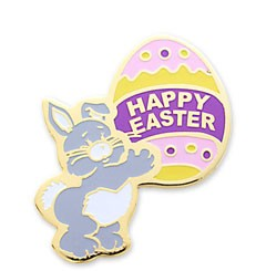 Happy Easter Bunny Stock Holiday Lapel Pin with military clutch - HL34