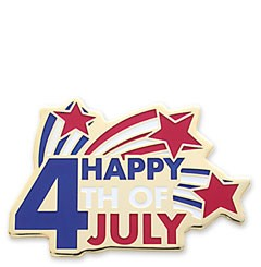 Fourth of July Stock Holiday Lapel Pin with military clutch - HL38