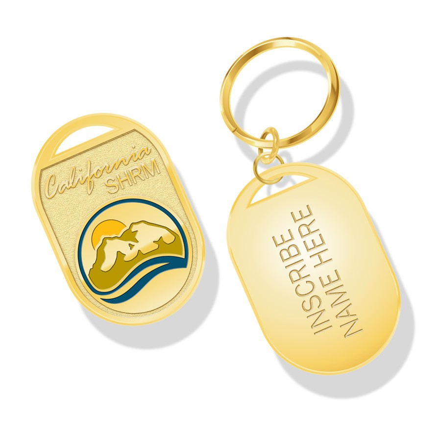 """1 1/2"""" gold plated key tag"""