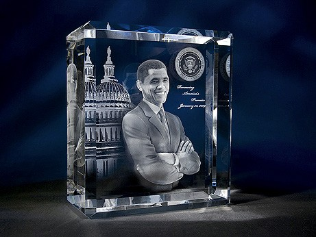 "11 13/16"" x 8 1/2 x 4"" Super Rectangle Shape Crystal Award"