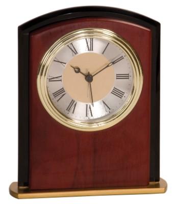 """6 1/2"""" Mahogany Finish Square Arch Clock - MF002"""