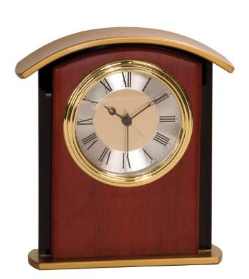 """6 1/2"""" Mahogany Finish Gold Top Clock - MF004"""