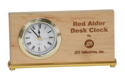 "4"" x 7 1/2"" Horizontal Red Alder Desk Clock - RA061"