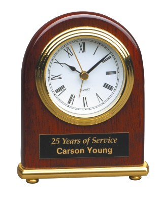 "4"" x 5"" Rosewood Piano Finish Arch Desk Clock - T001"