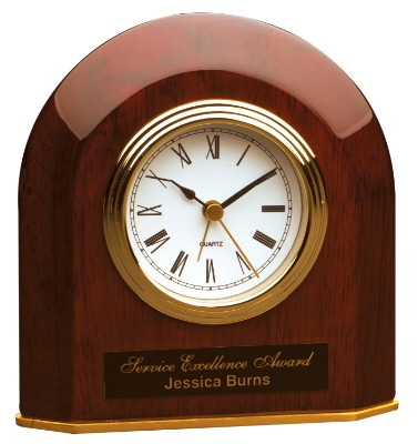 """5 1/4"""" x 5 1/2"""" Rosewood Piano Finish Beveled Arch Desk Clock - T065"""