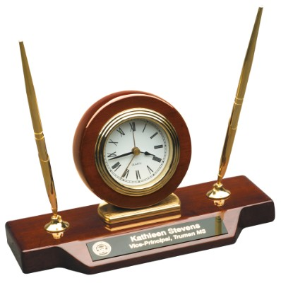 "9"" x 4 3/4"" Rosewood Piano Finish Desk Clock on Base with two pens - T154"