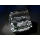 "2 3/8"" x 2 3/8"" x 2 3/8"" Crystal Cut Edge Cube Award"