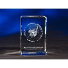 "2"" x 2"" x 3 1/8"" Beveled Rectangle Shape Crystal Award"