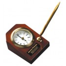 """3 5/8"""" x 4 3/4"""" Rosewod Piano Finish Desk Clock with Pen - T063"""