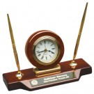 """9"""" x 4 3/4"""" Rosewood Piano Finish Desk Clock on Base with two pens - T154"""