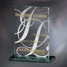 """6"""" x 7 3/4"""" x 2 3/4"""" Verde Quatra Jade Glass Award - VFTM056M"""
